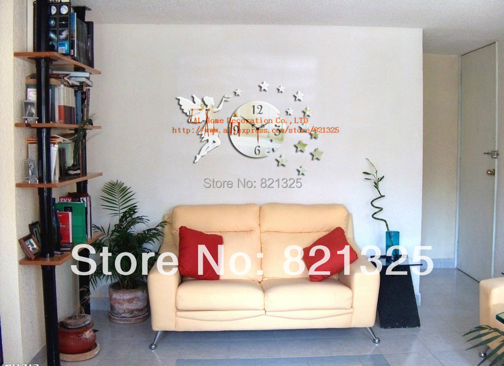 2014 3d wall mirror clock home modern decor diy crystal for Modern home decor diy