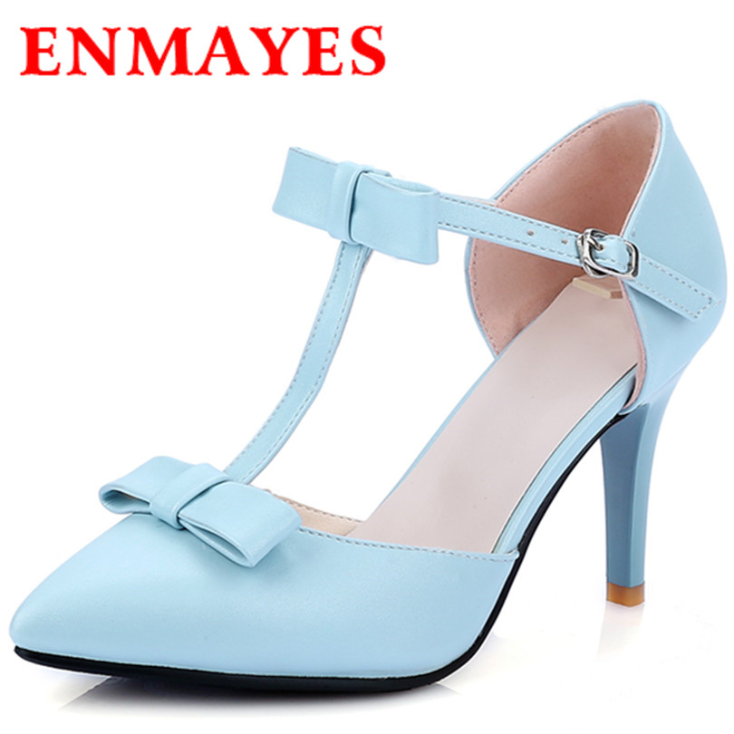 ENMAYES New Fashion 3 Colors Blue Bowtie PU Leather Shoes Match Dress Party Sandals High Heel Woman Size 34-42 - ENMAYDA store