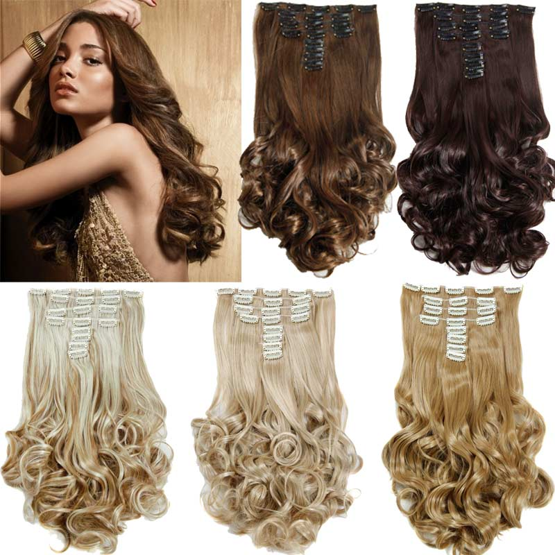 """False Hair Extensions Synthetic Hair with Clip 8pcs 18 Clips in Hair Extension 20"""" Long Curly Hairpiece Heat Resistant Hair(China (Mainland))"""