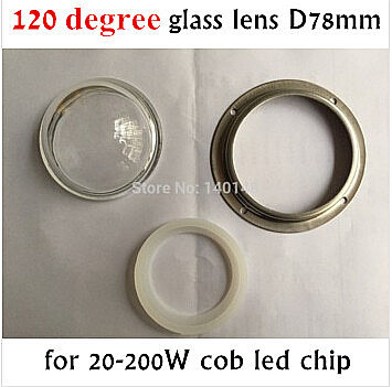 BIg Glass lens 78mm led optical lens +waterproof soft circle+ fixed ring for 20w -200w cob led , 120 degree beam angle(China (Mainland))