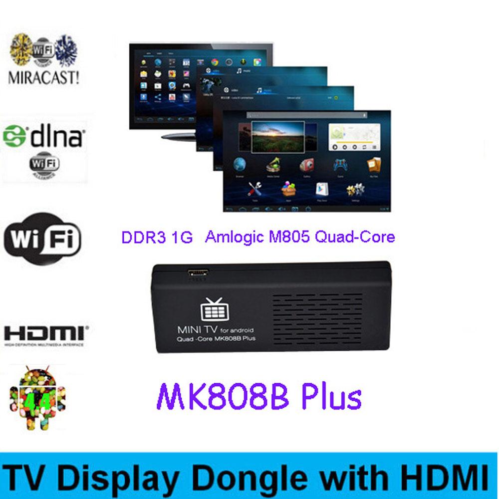MK808B Plus Android 4.4 HDMI TV Stick TV Dongle Amlogic M805 Quad-Core 1GB 8GB Mini PC Bluetooth XBMC Miracast/DLNA(China (Mainland))
