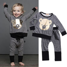 Unisex Winter Toddler Baby Boy Clothes Long Sleeve Cartoon Cute BEAR Printed T-Shirt + Pant Outfit Set Age 0-4(China (Mainland))