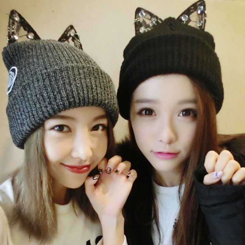 Women's winter hats Soft Hat With Cat Beanie Casual Style Winter Caps Solid bonnet Cat's Ear Hat Warm Design 16110301 u5(China (Mainland))