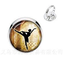 Argento/Golder Placcato Anelli 16 millimetri di Vetro Cabochon Elegante Balletto di Danza Anelli Per Le Donne di Balletto Ballerino Regalo(China)