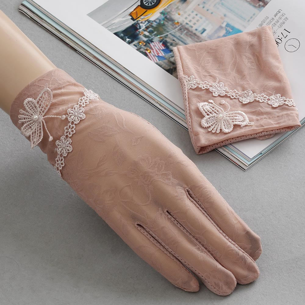 Fingerless gloves for sun protection - Lace Hollow Out Fingerless Gloves Skid Resistance Pattern Lace Fingerless Gloves Sun Protection Accessories Touch Screen Gloves