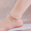 Top Quality 18KGP Rose Gold Plated Titanium Steel 2 layer Beads Anklet Fashion Brand Jewelry for