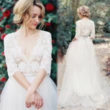 Wedding Dress Beading vestidos de novia Pleats Bridal Gowns A-Line V-neck pleated Wedding Dress 2016 sheer Lace Bridal Gowns