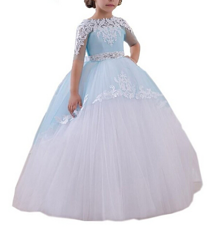 Pageant Dresses for Little Girls Lace Appliques Half Sleeves Beading Belt Open V Back Floor Length Ruffle Tulle Ball Gowns 0-14Y(China (Mainland))