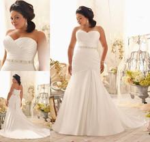 Romantic vestidos de noivas renda Mermaid Sweetheart Beaded Lace Up Bridal Gowns Plus Size Wedding Dresses 2015 size 28W(China (Mainland))