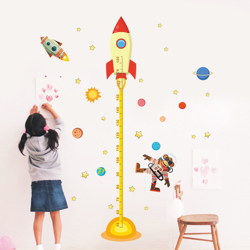 Solar System Height Measure Wall Stickers For Kids Rooms Stars Outer Space Sky Rocket Wall Decals Astronaut Monkey Poster(China (Mainland))