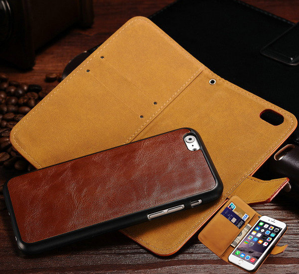 Deluxe Wallet PU Leather Case iPhone 6 6S 4.7 Inches Vintage Neo Hybrid Special Design Phone Bag Cover Black Brown - artisome Official Store store