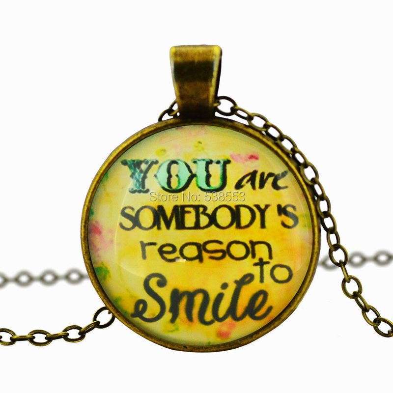"""2015 New Creative Design Letter""""You Are Somebody's Reason To Smile"""" Zinc Alloy Glass Pendant Retro Necklace(China (Mainland))"""