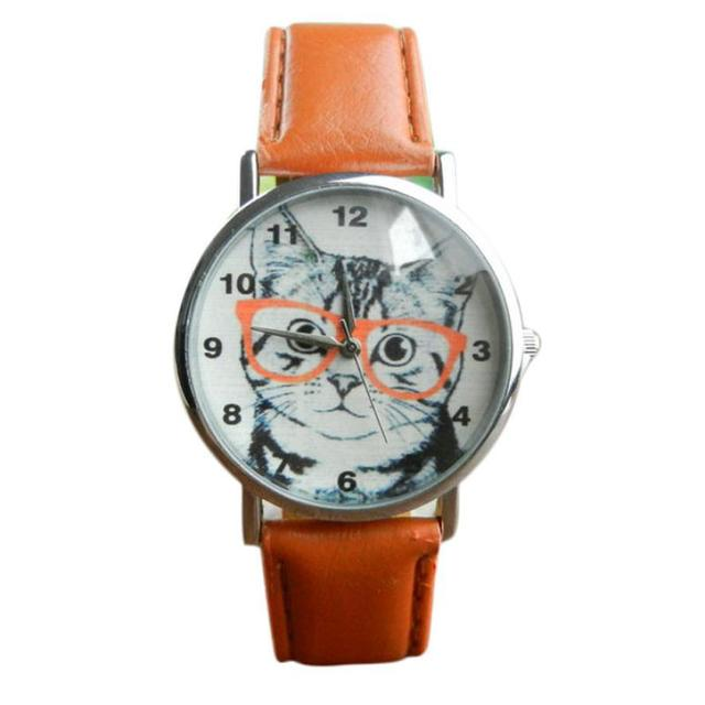 Cat With Glasses Pattern Watches