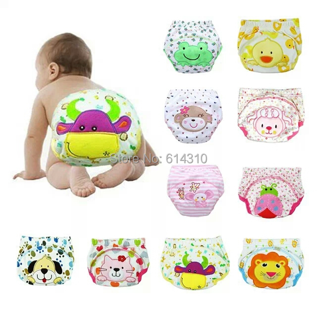 lowest price free shipping 10 pcs /lot baby nappies pants,baby infant learning pants,baby training briefs,(China (Mainland))