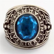 Punk Gothic Rion Man Silver Ring USA Army Ring Big Blue CZ Ring