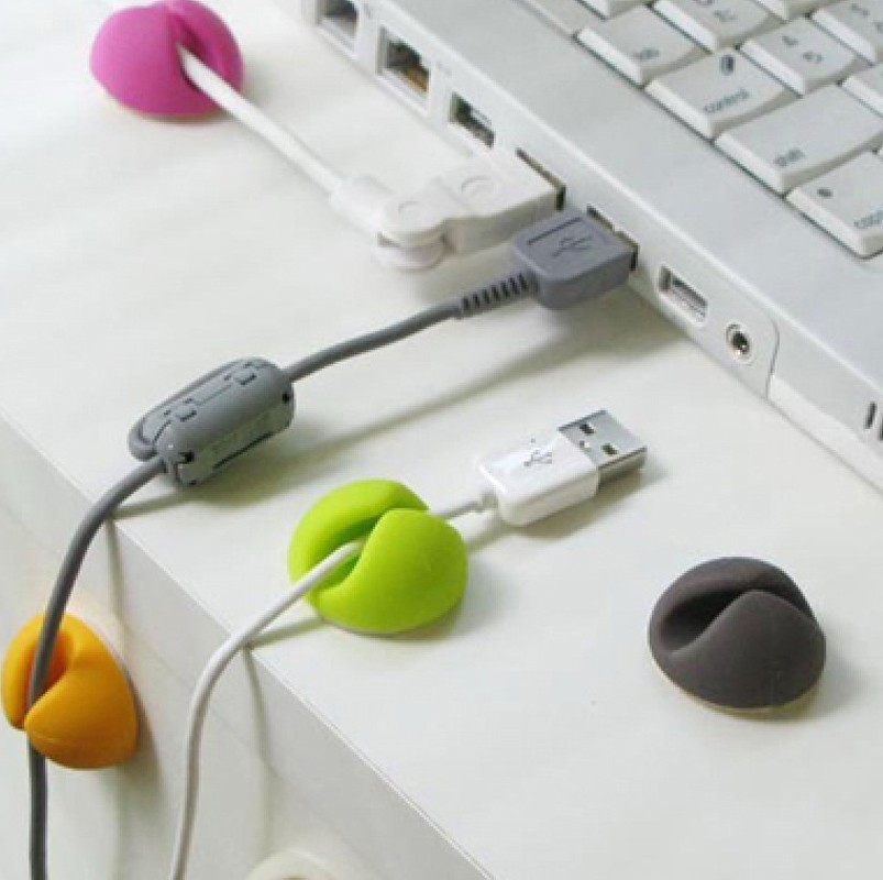 6PCS Cable Clip Desk Tidy Wire Drop Lead USB Charger Cord Holder Secure Table random colors(China (Mainland))