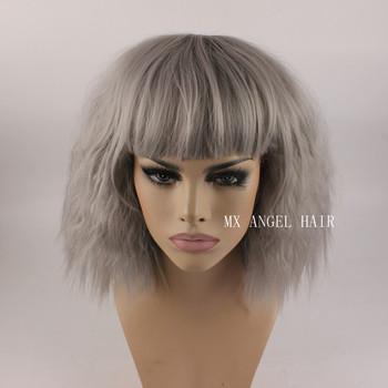 Beautiful Curly Medium Long Gery Synthetic No Lace Hair Wigs Heat Resistant Heavy Density Women Neat Bang Wigs