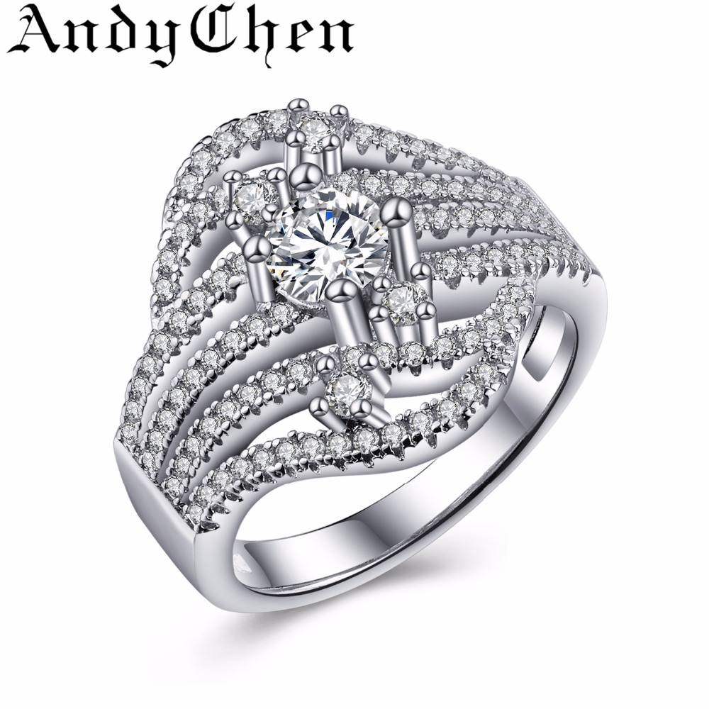 AndyChen Silver Plated Engagement Rings For Women Crystal Jewelry Trendy Wedding Bands Bague Bijoux Femme ASR373(China (Mainland))