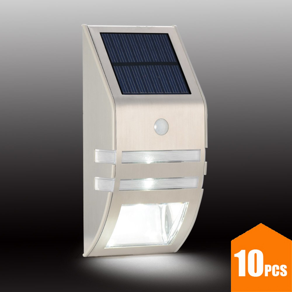 10PCS Solar Security Lamp with Motion Sensor 0.4W 4V Polycrystalline Silicon Solar Panel Stainless Steel Outdoor Wall Light 50LM