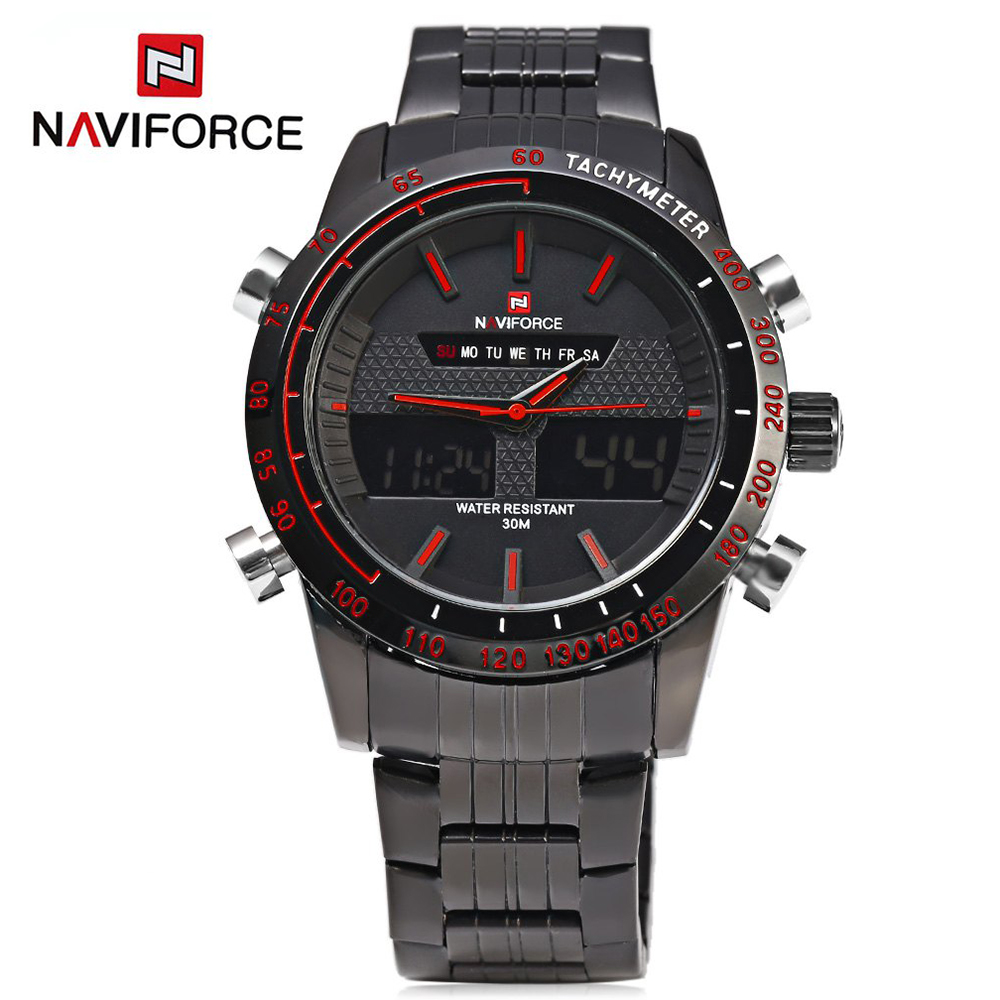 NAVIFORCE 9024 Men Watches Luxury Brand Full Steel Quartz Clock Digital LED Army Military Sport Business Watch relogio masculino(China (Mainland))