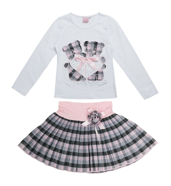 2015 New Fashion Boutique Outfits Sets For 2 Pcs Kids Girl Long Sleeve Cotton Shirts Tops + Plaid Tutu Skirts With Bow  Sets<br><br>Aliexpress