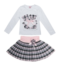 2015 Fashion omika Boutique Outfits Sets For 2 Pcs Kids Girl Long Sleeve Cotton Shirts Tops + Plaid Tutu Skirts With Bow  Sets(China (Mainland))
