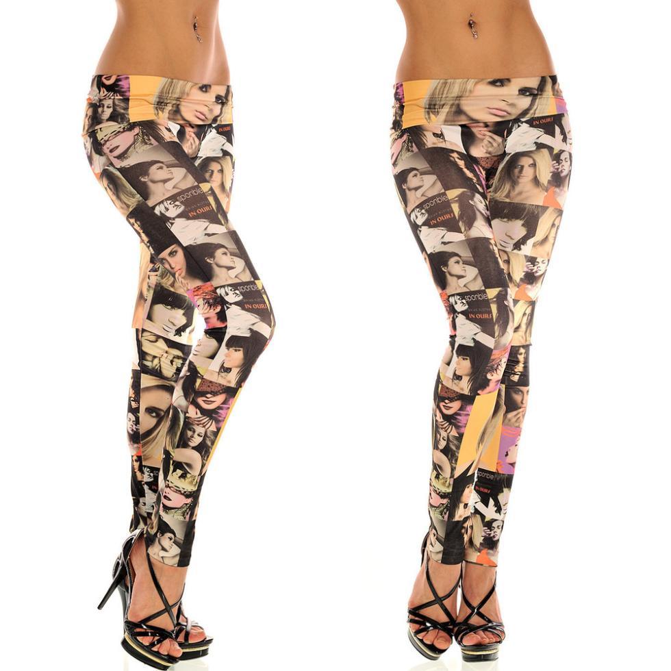 2017 Wholesale 2015women Sexy Leather Leggings Tattoo Jean Sport ...