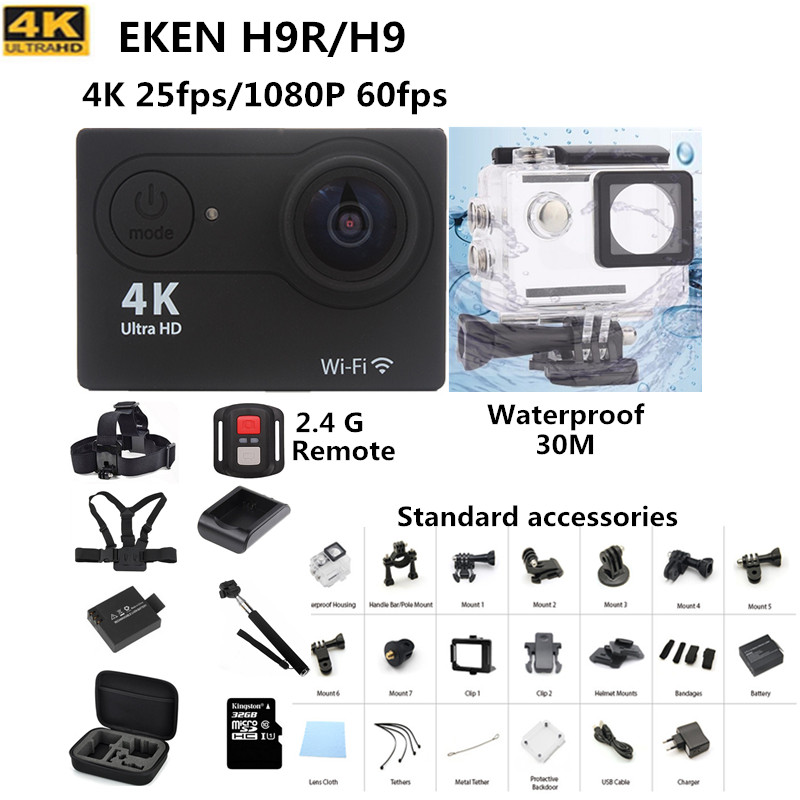 Action camera Original EKEN H9 H9R remote Ultra HD 4K WiFi 1080P 60fps go waterproof pro