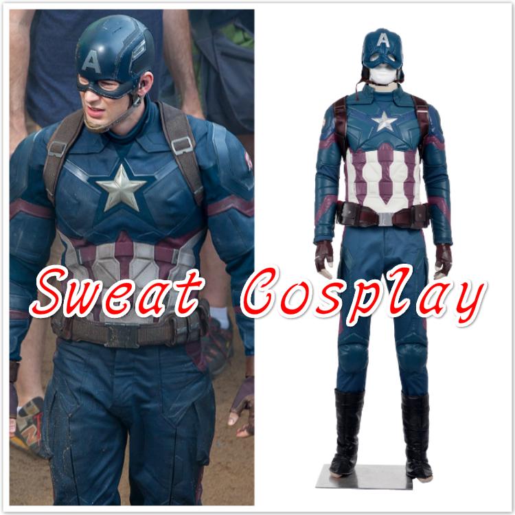 2016 Hot Movie adult Captain America 3 Civil War Cosplay Costume Steve captain america costume Adult Men Halloween(China (Mainland))