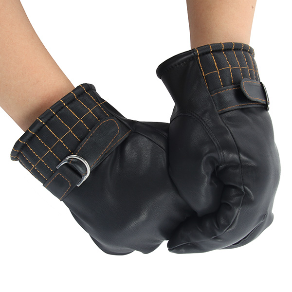 Brand Men Winter Warm Faux Leather Coral Fleece Lined Gloves Screen Black Mitten(China (Mainland))