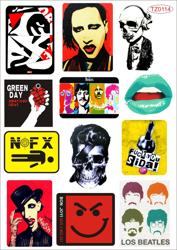 Fashion Rock Waterproof car sticker Beauty for ipad laptop stickers computer stickers Car Styling(China (Mainland))
