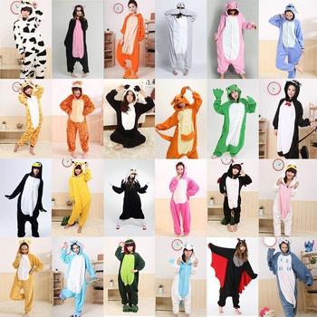 Wholesale  Dinosaur Unicorn Pikachu Unisex Flannel Hoodie Pajamas Costume Cosplay Animal Onesies Sleepwear  Men Women Christmas