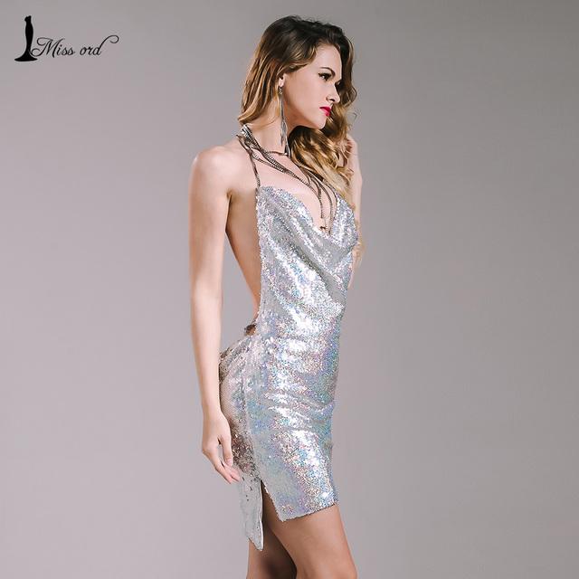 Missord 2016 Sexy sleeveless Deep-V halter split sequin dress backless metal Christmas party dress FT4928