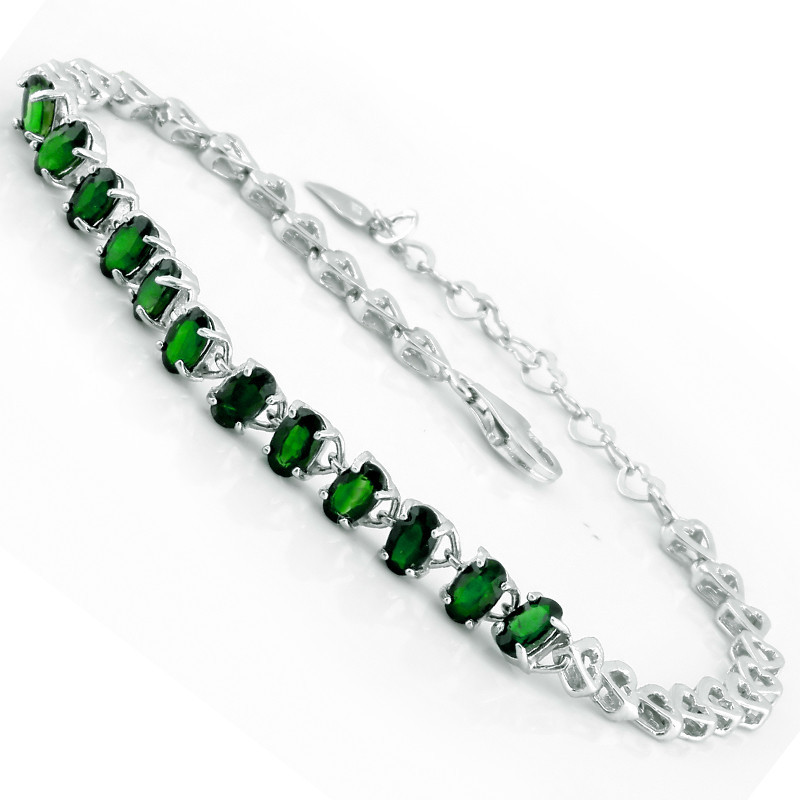 Natural Diopside Bracelet 925 Sterling Silver Russian Emerald Crystal Woman Fashion Fine Elegant Jewelry Queen Birthstone Gift - Eternal store
