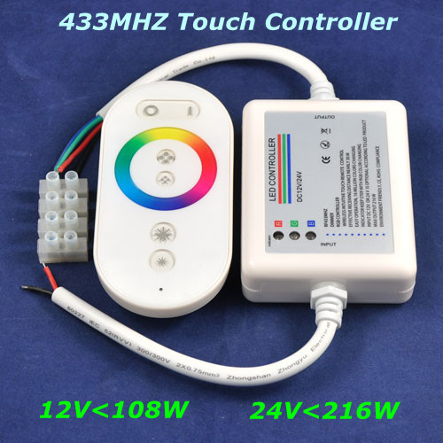 Airmail shipping, DC12V-108W,24V-216W,433MHz touch wireless RF rgb led controller for rgb led strip bar light,Retail
