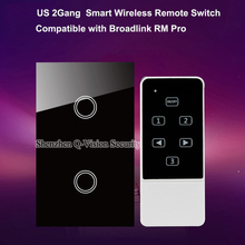 US 2Gang Smart Wireless Remote Control Light Touch Switch White/Black Tempered Glass Panel RF433MHz 1 Year Warranty AC110-240V