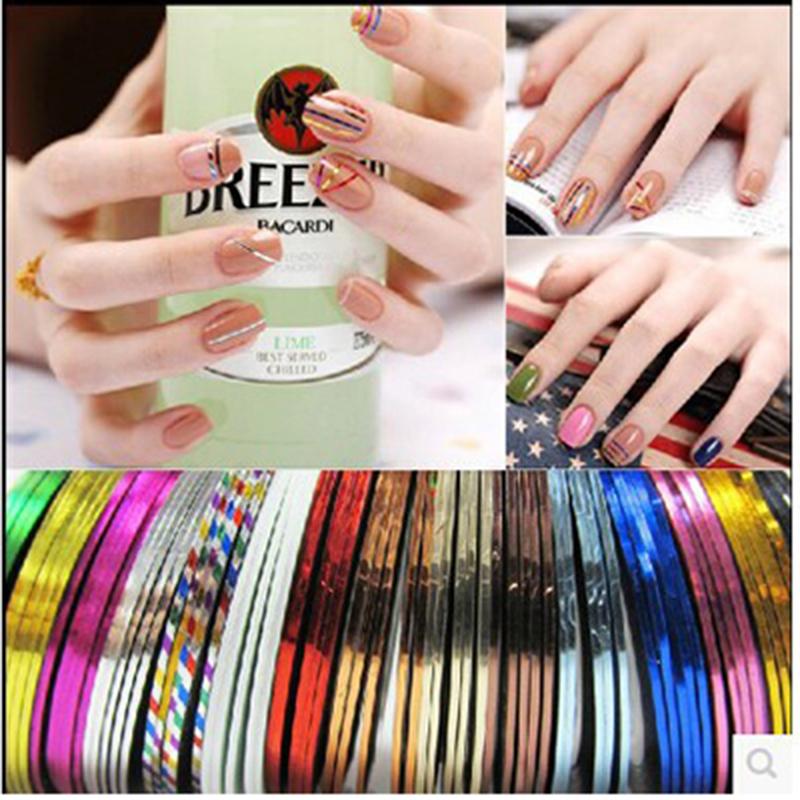 20 pc/lote mistura de beleza adesivos de cor folha fita linha de produtos DIY Nail etiquetas unhas Design francês Manicure ferramentas decorações Nail(China (Mainland))