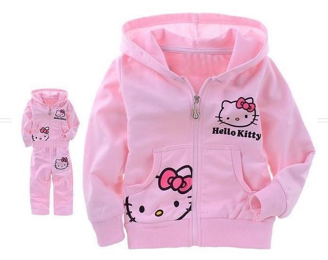 Девушки ребенок костюм детская одежда комплект розовые дети костюм привет котенок спортивный костюм кот с длинным рукавом + брюки 2 шт. розничная