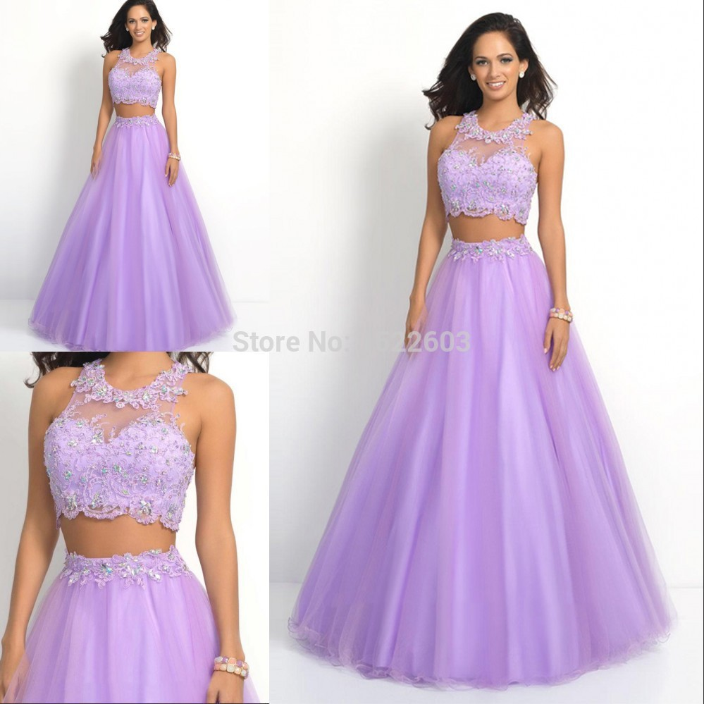 Ball Gown 2015 Hot Sale Flower High Neck Sheer Lace vestido de festa Two Piece Evening Dress Lilac Purple Formal Prom Gowns S445(China (Mainland))