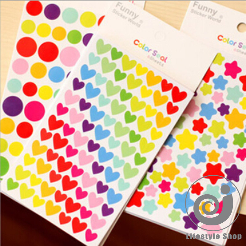 18 pcs/lot colorized heart star paper sticker diy decoration sticker for album scrapbooking diary kawaii stationery post it(China (Mainland))