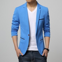 New 2015 fashion slim fit single breasted solid color blazer men englad style suit jacket  masculino casual men's clothing /XF13(China (Mainland))