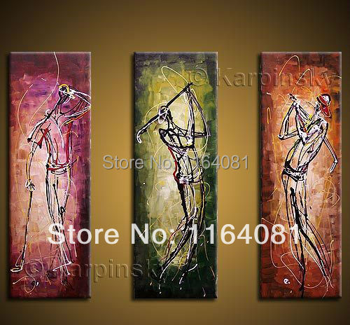 Free shipping Hand painted wall art Abstract Home decoration play Golf Oil Painting on canvas 3pcs/set(China (Mainland))