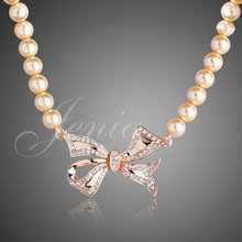 18K Rose Gold Plated Pearl Chains Necklaces with Austrian Crystal Bow Pendants Wholesale FREE SHIPPING (XN062)(China (Mainland))