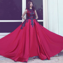 Fashion Red Evening Dresses With Black Applique Long Formal Party Dress 2017 Women Satin Special Occasion Gowns Vestido Longo(China (Mainland))