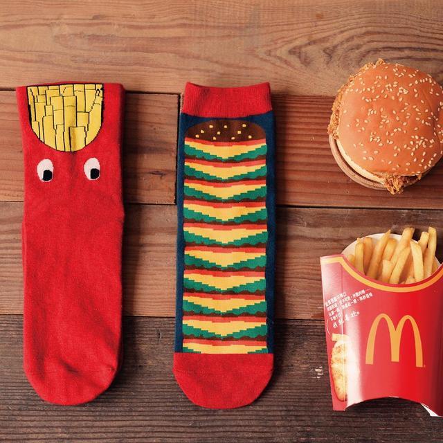 Новинка симпатичные мода забавный чипы гамбургер печать хлопок мужчины носки свободного ...