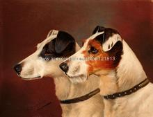 John Wheeler Terriers Dogs Portait Wearing Collars Watching Obedient Sport New Hand Painted Cheap Artwork For(China (Mainland))