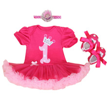 Baby Rompers 3PCs Infant Clothing Set Baby Girls Hot Pink 1st Birthday Tutu Dress Jumpersuit Headband Shoes(China (Mainland))