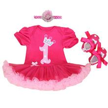 Macacão de bebê 3 PCs Conjunto de Roupas de Bebê Meninas Infantil Rosa Quente primeiro Aniversário Tutu Vestido Jumpersuit Sapatos Headband do