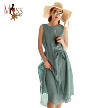 2016 summer new fashion beach dress women's linen comfortable casual dress cotton long brief One Piece good quality(China (Mainland))