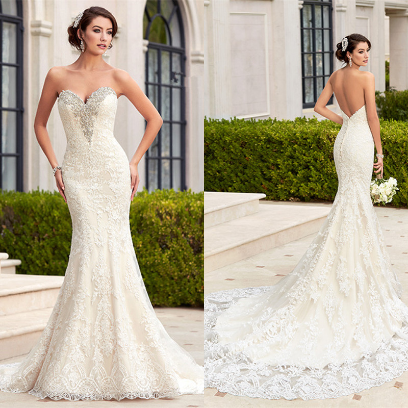 Hot sale sexy mermaid wedding dress 2016 white lace for Backless wedding dresses for sale